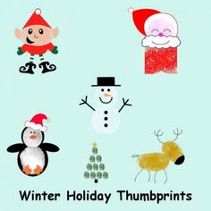 Thumbprint Characters for Greeting Cards and Scrapbooking...You can create adorable cards that start with just a thumbprint, then turn them into a work of art!...Below are just a few of the characters you can create!