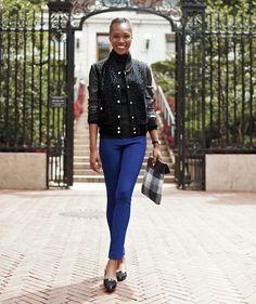 Varsity Blues: BCBGeneration Jacket [$138]; White House Black Market Turtleneck [$74]; Club Monaco Pants [$150]; ASOS Clutchh [$81]; Ann Taylor Flats [$98]