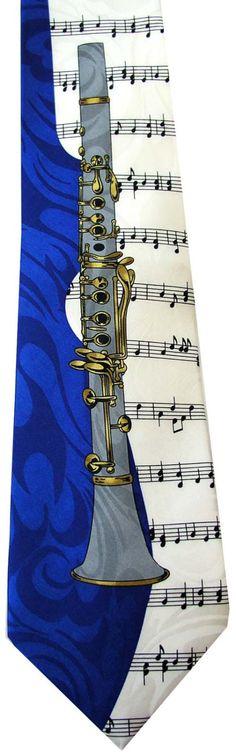 Clarinet Musical Instrument Music Cartoon Novelty Fancy Neck Tie Necktie. $7.99, via Etsy.