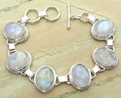 Genuine Moonstone 925 Sterling Silver Overlay Handmade Fashion Bracelet Jewelry by Sterling Silver Jewelry -- Awesome products selected by Anna Churchill