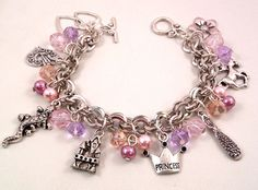 Disney Tangled Inspired Lilac Pink Beaded Charm Bracelet on Etsy, $22.86