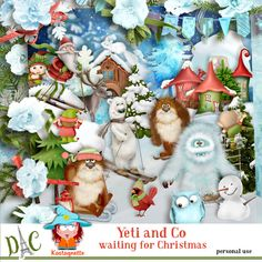 Yeti and Co waiting for Christmas by Kastagnette Yéti and Co waiting for Christmas [kastagnette_YetiAndCo] - Sticker Paper, Stickers, 3d Paper, Clipart, Waiting, Cartoon, Table Decorations, Christmas, Snowball