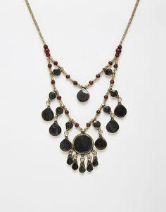 Rock+'N+Rose+Black+Stone+Teardrop+Statement+Necklace