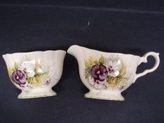 Beautiful Antique Cream and Sugar Set Pansy by Goodoldjewelry
