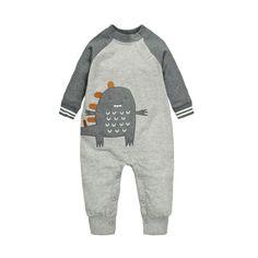 Baby's Cute Cotton Grey Little Monster Long Sleeve Baseball Suit Bodysuit