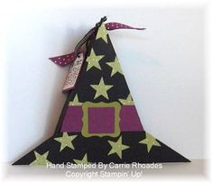 Witches/Wizards Hat box tutorial.  Triangle box using the trimmer's scoring blade.