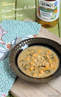 Skinny Sweet Potato & Kale Peanut Soup Recipe #HeinzVinegar