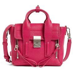 Women's 3.1 Phillip Lim Mini Pashli Leather Satchel ($695) ❤ liked on Polyvore featuring bags, handbags, pink leather handbags, pink purse, leather satchel handbags, leather satchel purse and genuine leather handbags