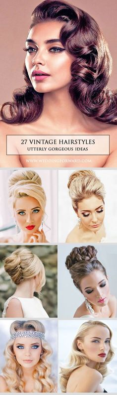 27 Utterly Gorgeous Vintage Wedding Hairstyles ❤️ From 20s Gatsby style and sensational 60s chignons to retro 50s rolls, vintage wedding hairstyles come in all shapes and sizes and they are perfect. See more: http://www.weddingforward.com/vintage-wedding-hairstyles/ #weddings #hairstyles