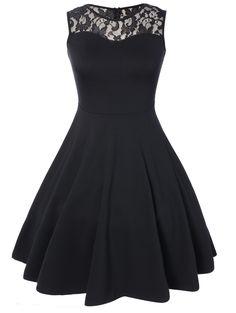 Sleeveless Lace A Line Dress