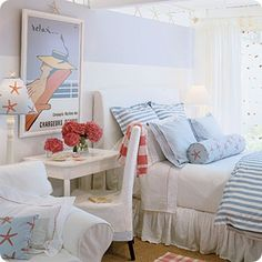 Shabby & Charme: Coastal living girls rooms? I love the orange/blue or the red/blue combo in lighter colors.  It would be so cute in between their huge jack and jill bedroom upstairs.