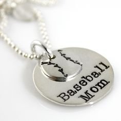 Baseball Mom Stack sterling silver necklace by PunkyJane on Etsy, $45.00