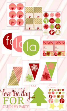 Free Christmas Printables  http://blog.catchmyparty.com/2011/11/26/free-christmas-party-printable-from-love-the-day/