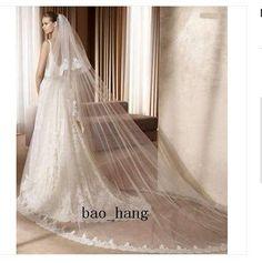 Romantic Chapel Ivory Bridal Wedding Dress Veil With Lace Purfle 2T on AliExpress.com. $52.00