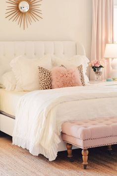 Bedroom Decor Ideas: A Romantic Master Bedroom Makeover - The Pink Dream - master bedroom makeover, white tufted bed, white and gold lamps, white with brass nightstand - Home Decor Bedroom, White Bedroom Decor, Romantic Home Decor, Bedroom Makeover, Bedroom Decor, Bed Makeover, Home Bedroom, Master Bedroom Makeover, Bedding Master Bedroom