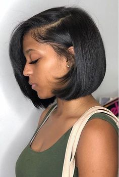 Brazilian Remy Human Hair Lace Front Wig Short Straight Bob Full Wigs Black  Wigs Hair d7f2a2c74