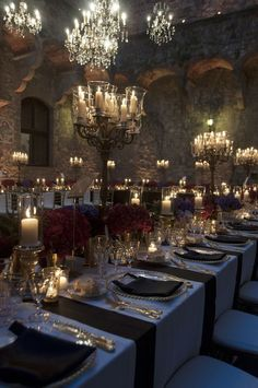 Twilight in the Tuscan Hills at Castello di Vincigliata. Crystal chandeliers…: