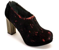 ECKBERG | Women ankle boots compensated gold stars heel shoes in black calfskin and Velvet | P-E-06