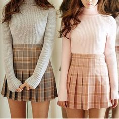 Cute grid pleated skirt SD00628 #VintageClothesForBusyMoms