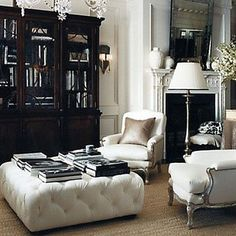 eliware: Ralph Lauren Home  white tufted ottoman, cabinet, white french chairs, silk pillows, ...
