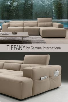 Tiffany by Gamma International is a contemporary sectional sofa. Available in leather, features clear design with practical shape.