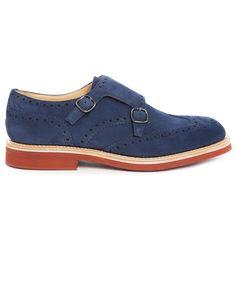 Schuhe mit geblümter Schnalle mit pfeilförmiger Spitze aus braunem Veloursleder Kelby CHURCHS