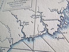 Kennebunkport, Maine, Letterpress Map Art Print Saco River, Make A Map, Kennebunkport Maine, Letterpress Printing, Map Art, Geology, Pearl White, How To Draw Hands, Art Prints