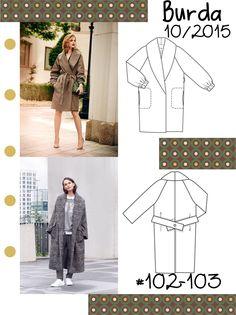 Płaszcz w kratkę z wykładanym kołnierzem Burda Patterns, Duster Coat, Acne Studios, Calvin Klein, Zara, Jackets, Model, Blog, Fashion