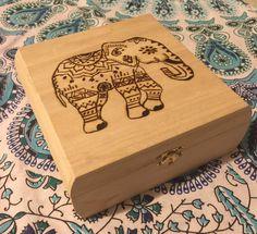 Boho Elephant Woodburned Box