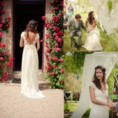 Wholesale 2015 Backless Lace Chiffon Garden Wedding Dresses Pregnant Empire V Neck Beads Sash Summer Spring Beach Bridal Maternity Gowns Custom Sheer, Free shipping, $123.46/Piece   DHgate Mobile