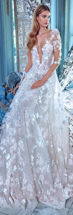 How can one not fall breathlessly in love with the every stunning wedding dresses on Galia Lahav Spring 2017 Collection - Le Secret Royal? Stunning Wedding Dresses, Dream Wedding Dresses, Beautiful Gowns, Bridal Dresses, Wedding Gowns, 2017 Wedding, Lace Wedding, Backless Wedding, Spring Wedding