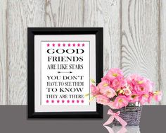 Friendship quote Print Inspirational words Hot pink by DorindaArt, $5.00