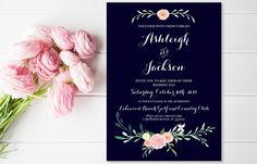 Printable Wedding Invitation, Navy Wedding Invitations with Floral Hand Painted Rustic Wedding Invitations, Navy Wedding Invitation