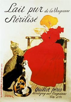 I NEED THIS!!!! (Lait pur de la Vingeanne Sterilise by Steinlen 1894 France - Vintage Poster Reproductions. This french culinary food poster features a girl in a red dress sitting drinking milk with felines at her feet. Giclee Advertising Print. Classic Posters)