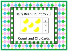 Math: Students can practice their counting skills with this Jelly Bean count and clip math center activity. Students will count the Jelly Beans and clip a clothes pin on the correct number. Print out the pages, laminate, and cut out the count and clip cards. You will need 20 clothespins for this activity. Or, if you prefer, students can use dry erase markers to circle the correct number.
