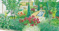 Auch ein kleiner Garten mit nur 60 Quadratmetern kommt mit ein paar kreativen Gestaltungsideen richtig groß raus! Die Pflanzpläne für beide Gestaltungsvorschläge können Sie als PDF-Dokument herunterladen und ausdrucken.