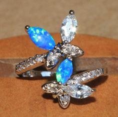 blue fire opal white topaz Cz ring silver jewelry Sz 7.5 modern cocktail style Z #Cocktail