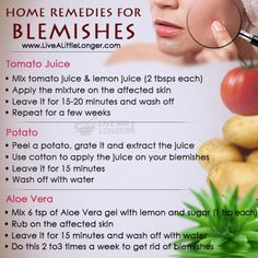 Home Remedies For Blemishes #health #nature For More: www.livealittlelonger.com