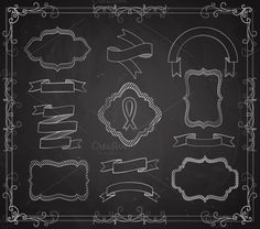 Check out Vector Set of Chalkboard Banners by Microvector on Creative Market