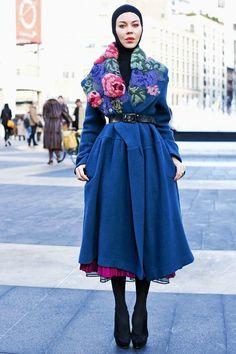 Ulyana at NYFW 13. Gorgeous coat.