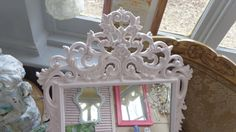 Large Vintage baroque distressed  Baby girl, decorative baby nursery shabby chic ornate wall framed mirror on Etsy, $139.00