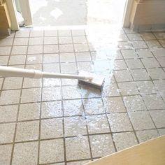 この画像の掃除方法はNG。玄関(ドアの内側)の構造上、防水処理していない。水を流して丸洗いすると、土台に水が染み込み、腐る原因になり、ひび割れが起こる。お風呂場同様、湿気を好む白蟻が住み着く。 濡らした雑巾で拭く程度で掃除すること。