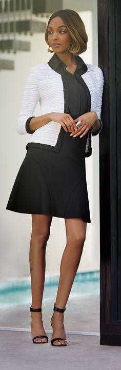 ae6187d18d588 Jourdan Dunn in St. John Knits white tweed jacket   black flared knit skirt  from