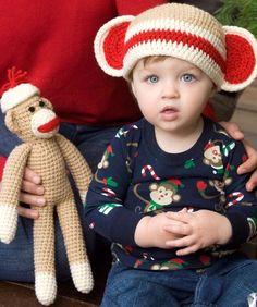 Sock Monkey and Baby Hat Crochet Free Pattern.