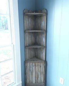 Corner Shelves Ideas to Improve Kitchen Storage and Look Door Corner Shelves, Rustic Corner Shelf, Diy Corner Shelf, Corner Hutch, Corner Bookshelves, Corner Cabinets, Corner Cabinet Dining Room, Bathroom Corner Cabinet, Rustic Bookcase