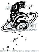Starry Cat And Saturn Logo by WildSpiritWolf