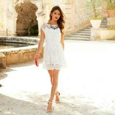 Pretty simple white dress.