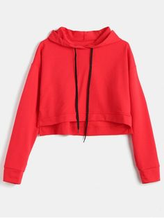 Autumn and Spring Solid Full Short Drop Hoodie Drop Shoulder Slit Crop Hoodie Red Hoodie, Cropped Hoodie, Sweater Hoodie, Girl Fashion, Fashion Outfits, Everyday Fashion, Types Of Sleeves, Cool Outfits, Lany