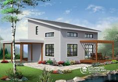 MODULAR STYLE MODERN CHALET Affordable Small Modern Cottage, large covered deck, open floor plan, lots of natural lights http://www.drummondhouseplans.com/house-plan-detail/info/noyo-contemporary-1003152.html