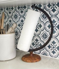 The perfect upcycled paper towel holder - made from an old globe stand. Painting Oak Cabinets White, Painting Countertops, Home Crafts, Diy Home Decor, Old Globe, Do It Yourself Organization, Wood Wreath, Kitchen On A Budget, Kitchen Ideas